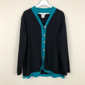 Exclusively Misook Woman Button Front Cardigan
